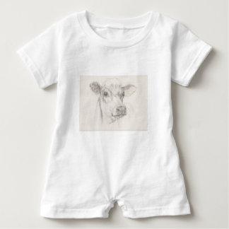 Macacão Para Bebê Um desenho de uma vaca nova