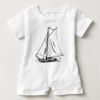 Macacão Para Bebê Vintage do desenho do veleiro