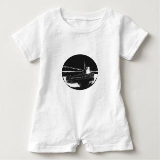 Macacão Para Bebê Woodcut do Oval do rebocador do rio