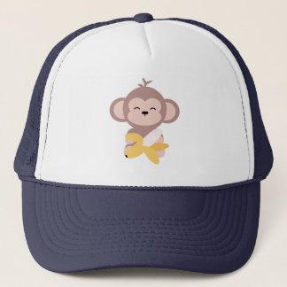 Macaco bonito de Kawaii com o chapéu do camionista Boné