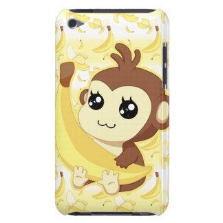 Macaco bonito de Kawaii que guardara a banana Capa Para iPod Touch