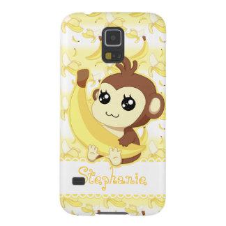 Macaco bonito de Kawaii que guardara a banana Capinha Galaxy S5