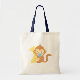 Macaco bonito do bebê dos desenhos animados com ba bolsa para compras