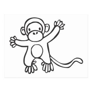 Macaco criativo no desenho de esboço cartão postal