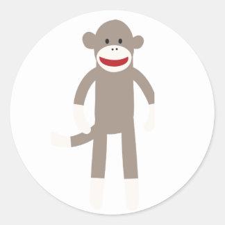 Macaco da peúga adesivos em formato redondos