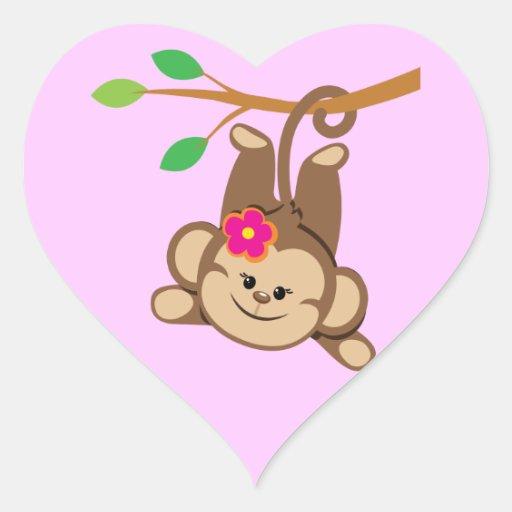Macaco de balanço da menina adesivo em forma de coração