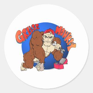 Macaco de graxa adesivos em formato redondos