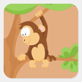 Macaco de meu serie dos animais do mundo adesivo quadrado