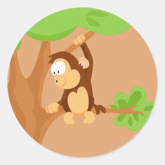 Macaco de meu serie dos animais do mundo adesivos em formato redondos