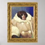 Macaco do casaco em um quadro do ouro poster