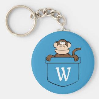 Macaco engraçado em um bolso Monogrammed Chaveiro