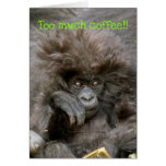 Macaco louco do cabelo a muito café Notecard Cartão De Nota