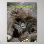 Macaco louco do cabelo demasiado poster do café