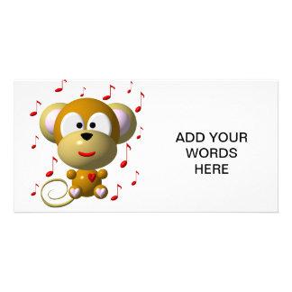 Macaco musical cartão com fotos personalizado