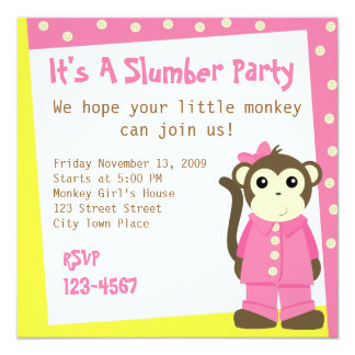 Macaco nos pijamas convite personalizados