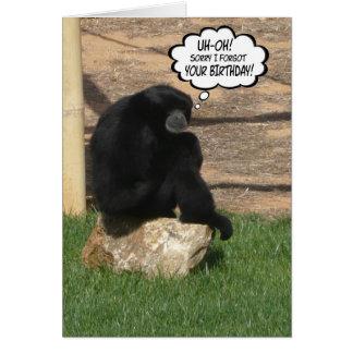 Macaco tardivo cómico do aniversário cartao
