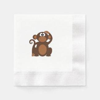Macaco tirado dos desenhos animados de Brown que Guardanapo De Papel