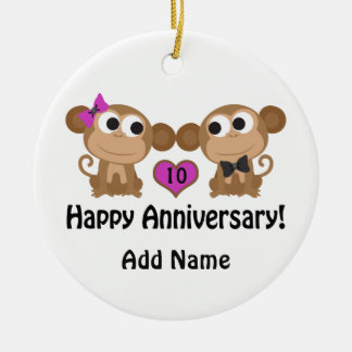 Macacos felizes do aniversário ornamento de cerâmica redondo