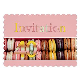 Macaron do convite de festas do aniversário de 40