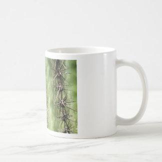 macro próximo acima dos espinhos do cacto caneca de café