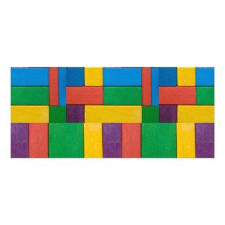 Madeira, colorida, blocos de apartamentos, miúdos, 10.16 x 22.86cm panfleto