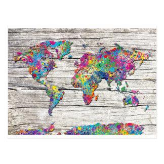 madeira do mapa do mundo cartão postal