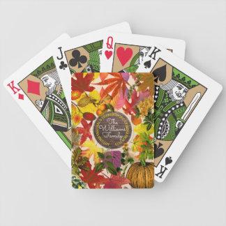 Madeira do vintage da colagem das folhas de outono baralhos de pôquer