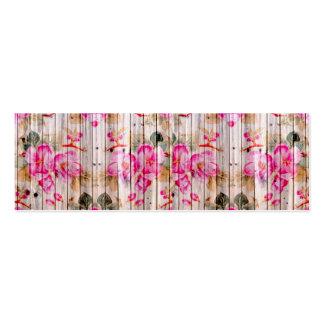 Madeira floral antiga cor-de-rosa retro do vintage cartão de visita skinny