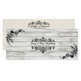 Madeira & laço afligidos que Wedding cartões de