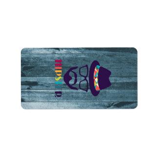 madeira legal do azul da barba dos vidros do chapé etiqueta de endereço