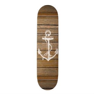 Madeira marrom rústica do vintage branco da âncora shape de skate 18,1cm