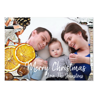 Madeira rústica, cartão com fotos da exposição do