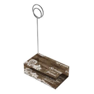 Madeira rústica & casamento do laço do vintage suportes para cartao de mesa