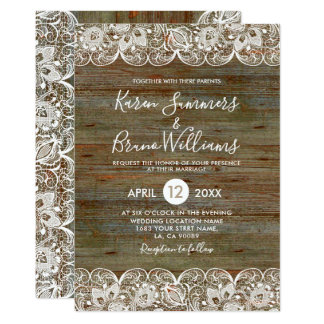 Madeira rústica & convite branco do casamento do