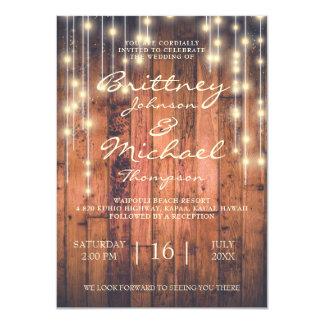 Madeira rústica de Brown & convite Wedding das