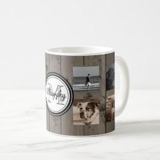 Madeira rústica do monograma da colagem da foto de caneca de café