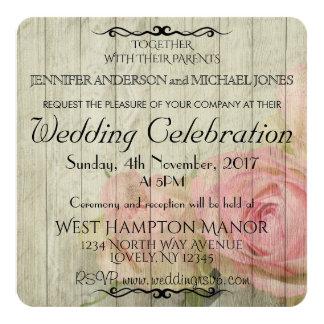 Madeira rústica e rosas que Wedding o convite