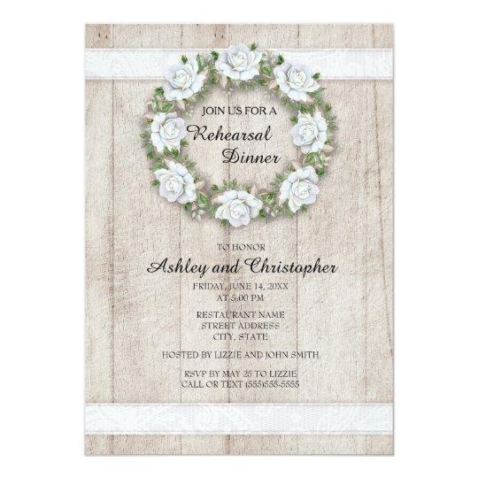 Madeira rústica, laço, ensaio floral branco do convite 12.7 x 17.78cm