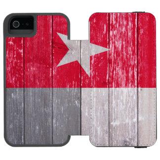 Madeira velha pintada de Texas bandeira vermelha