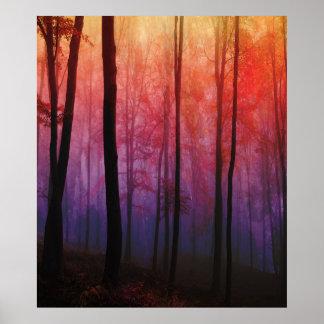 Madeiras de sussurro, arte da paisagem da floresta pôster
