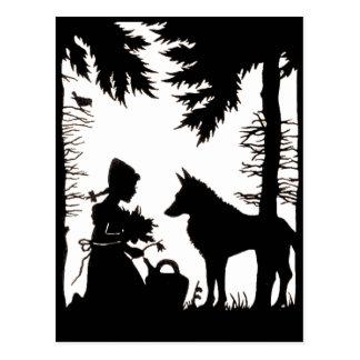 Madeiras vermelhas do lobo da capa de equitação da cartão postal