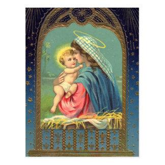 Madonna & cartão do feriado do Natal da criança Cartão Postal