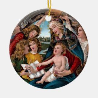 Madonna & criança, Botticelli Ornamento De Cerâmica Redondo