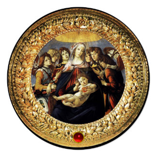 Madonna da gema vermelha do rubi do Natal da romã Convite Quadrado 13.35 X 13.35cm