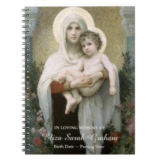 Madonna do livro de hóspedes memorável fúnebre dos cadernos espiral