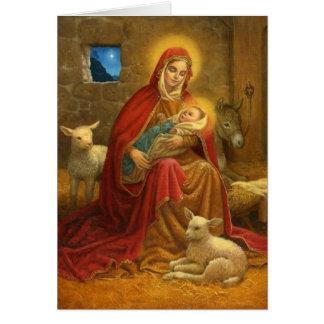Madonna e cartão de Natal religioso da criança