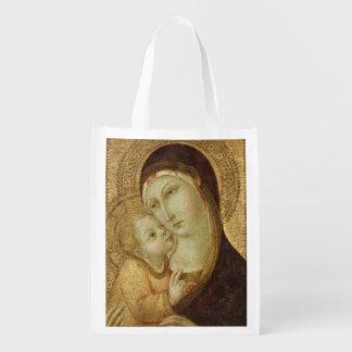 Madonna e criança 2 sacolas reusáveis