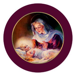Madonna e criança. Cartões de Natal lisos Convite Quadrado 13.35 X 13.35cm