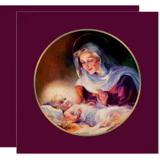 Madonna e criança. Cartões de Natal religiosos Convite Quadrado 13.35 X 13.35cm