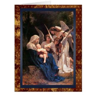 Madonna e criança com Natal dos músicos do anjo Cartão Comemorativo Grande